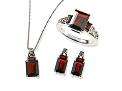 Sterling Silver & Garnet Jewelry Set