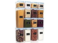 Vtopmart 15-Piece Plastic Airtight Food Storage
