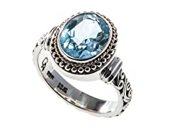 18kt Gold Bezel Blue Topaz Ring