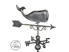 Save The Whales Weathervane, Grey Patina