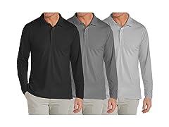 3PK Men's L/S Pique Polo Shirt
