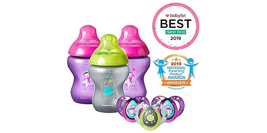 Tommee Tippee Decorated Gift Set 3 Baby Bottles & 3 Pacifiers (Girl)   WOOT