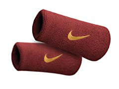 Swoosh Doublewide Wristbands-Red