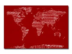 Sheet Music World Map Canvas
