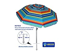 7ft Beach Umbrella, Adjustable Height