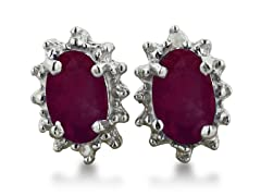 1ct Ruby And Diamond Earrings In Sterling Silver