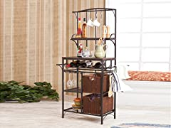 Metal & Rattan Storage Rack