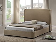Sheila Linen Modern Bed - Tan - King