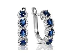 Regal Women's Blue Sapphire Halo Earring