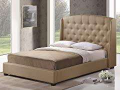 Ipswich Queen Platform Bed - Beige