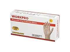 Workpro Disposable Vinyl Gloves, LG 10Pk