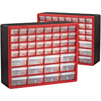2-Pack Akro Mils 44-Drawer Hardware & Craft Cabinets (Red and Black)