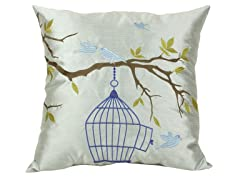 Embroidered Love Bird 20-inch Pillow