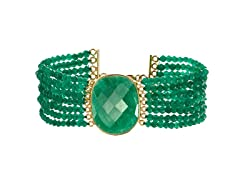 Gold-Plated SS Genuine Dyed Emerald Bead Bracelet
