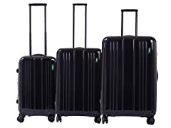Superlative Expansion 3-Pc Luggage Set Black