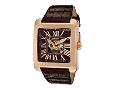 Men's See-Thru Dial Brown Leather