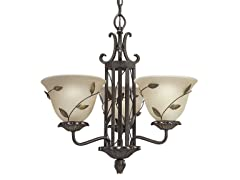 3-Light Chandelier, Forged Bronze