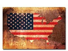 US Flag Map 18x24 Canvas