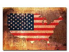 US Flag Map 18x24 Canvas