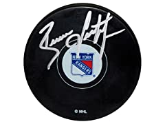 Brian Leetch Rangers Signed Puck