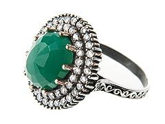 SS Otantic Oval Dyed Emerald Genuine Semi-Precious Gemstone CZ Ring
