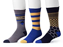 Muk Luks Men's 3 Pair Pack Socks, Blue/Gold