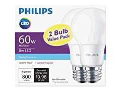 Philips 8 Watt A19 60 Watt Replacement