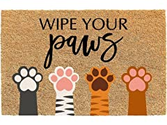 Printed Coir Welcome Mat, Wipe Your Paws Multi
