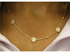 18K Gold Plated Disk Station Necklace