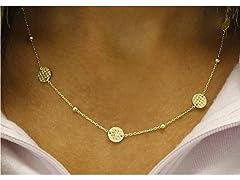 18K Gold Plated Disk Station Necklace