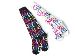 Black & White Peace Knee Socks (2 pair)