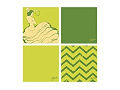 Fiesta Green Dancing Chevrons Coasters