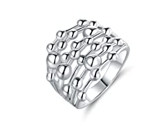 18K White Gold Plated Bubble Ring