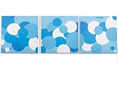 Sky Baby Canvas Print: Blue Bubbles- Set of 3
