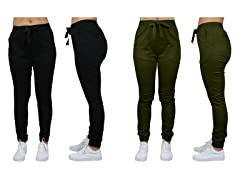 2PK Womens Cotton Stretch Basic Jogger
