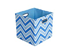 Sky Zig Zag Canvas Folding Storage Bin