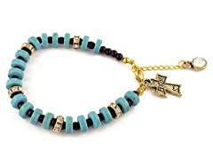 Genuine Turquoise Black Bead  Cross Charm Bracelet
