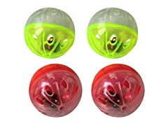 6 Pack Plastic ball with rattle - Assorted - 24 Pieces