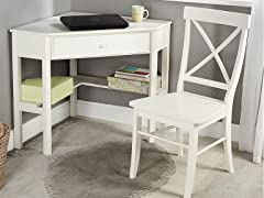 TMS 2Pc Corner Desk and Chair (3-Colors)