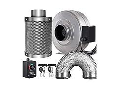 "4"" 190 CFM Inline Fan + Carbon Filter + 8-ft Ducting Combo"
