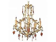 5-Light Chandelier, Gold Leaf