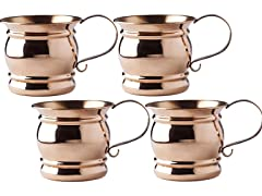 16 Oz. Solid Copper Moscow Mule Mugs w/Flat Handle, Set of 4
