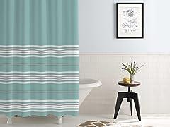 Waterproof Printed Shower Curtain Racer Stripe