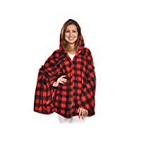 Deals on Angelina Cozy Fleece Hooded Wearable Blanket