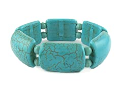 Genuine Turquoise Dual Shape Stretch Bracelet