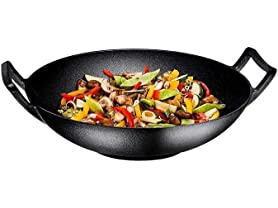 Pre-Seasoned 14-Inch Cast Iron Wok