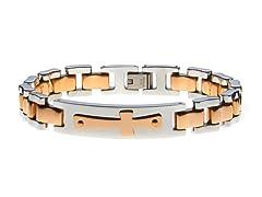14k Rose Gold Plated Cross Bracelet