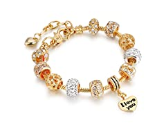 Crystal Heart Charm I Love You Bracelet