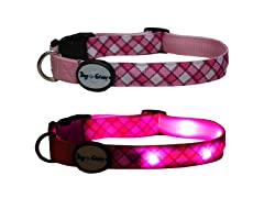 Dog-e-Glow Pink Plaid LED Lighted Collar-Medium