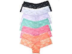 Lace Cheeky Boxer Panties w Flowers 6-Pk
